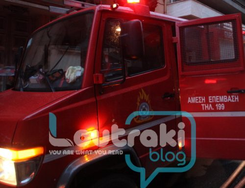 Φωτιά κοντά στο 3ο δημοτικό σχολείο Λουτρακίου (φωτο)