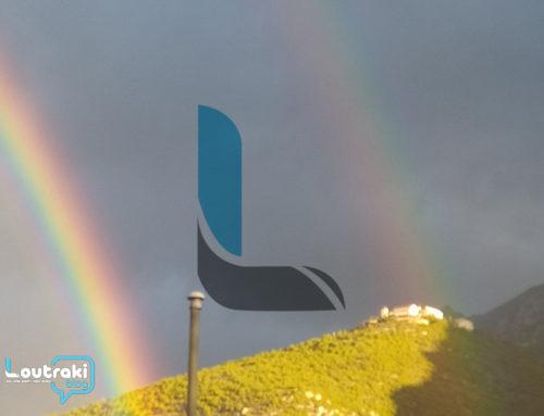 Απίστευτο διπλό ουράνιο τόξο στο Λουτράκι (φωτο)