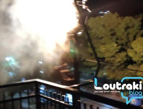 Λουτράκι: Bραχυκύκλωμα και φωτιά σε κολόνα της ΔΕΗ. Ξύπνησαν από τις εκρήξεις (video-φωτο)